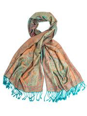 Scarves - Amrita Scarf, Pashmina Indian Paisley Traditional Jacquard Shawl -() Bohomonde  - 3