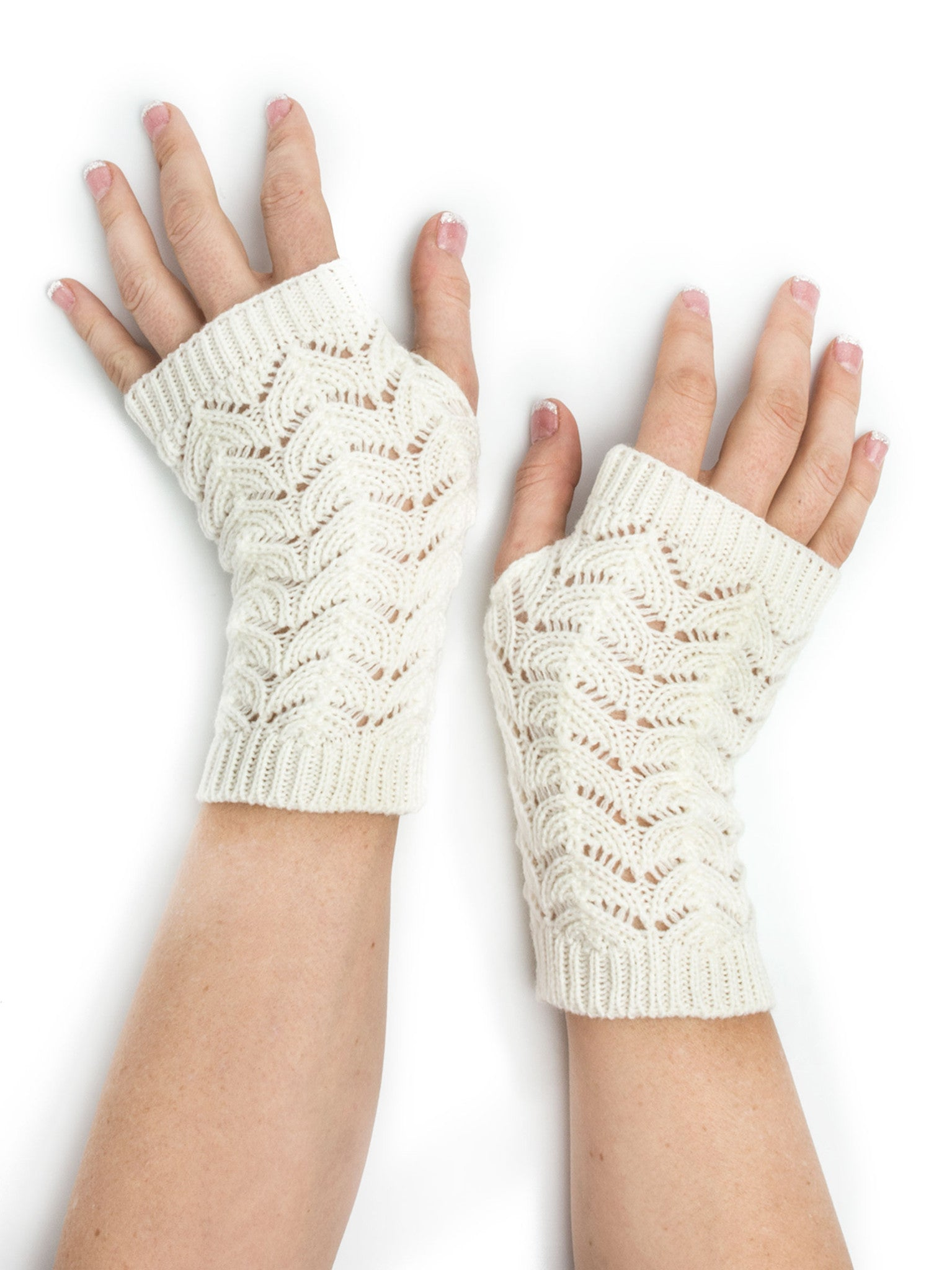 Armwarmers - Maeve Scallop Open Lace Crochet Pattern Fingerless Gloves / Armwarmers -(White) Bohomonde  - 4