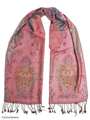 Scarves - Ramaya Scarf, Reversible Pashmina Indian Paisley Traditional Jacquard Scarf -() Bohomonde  - 2