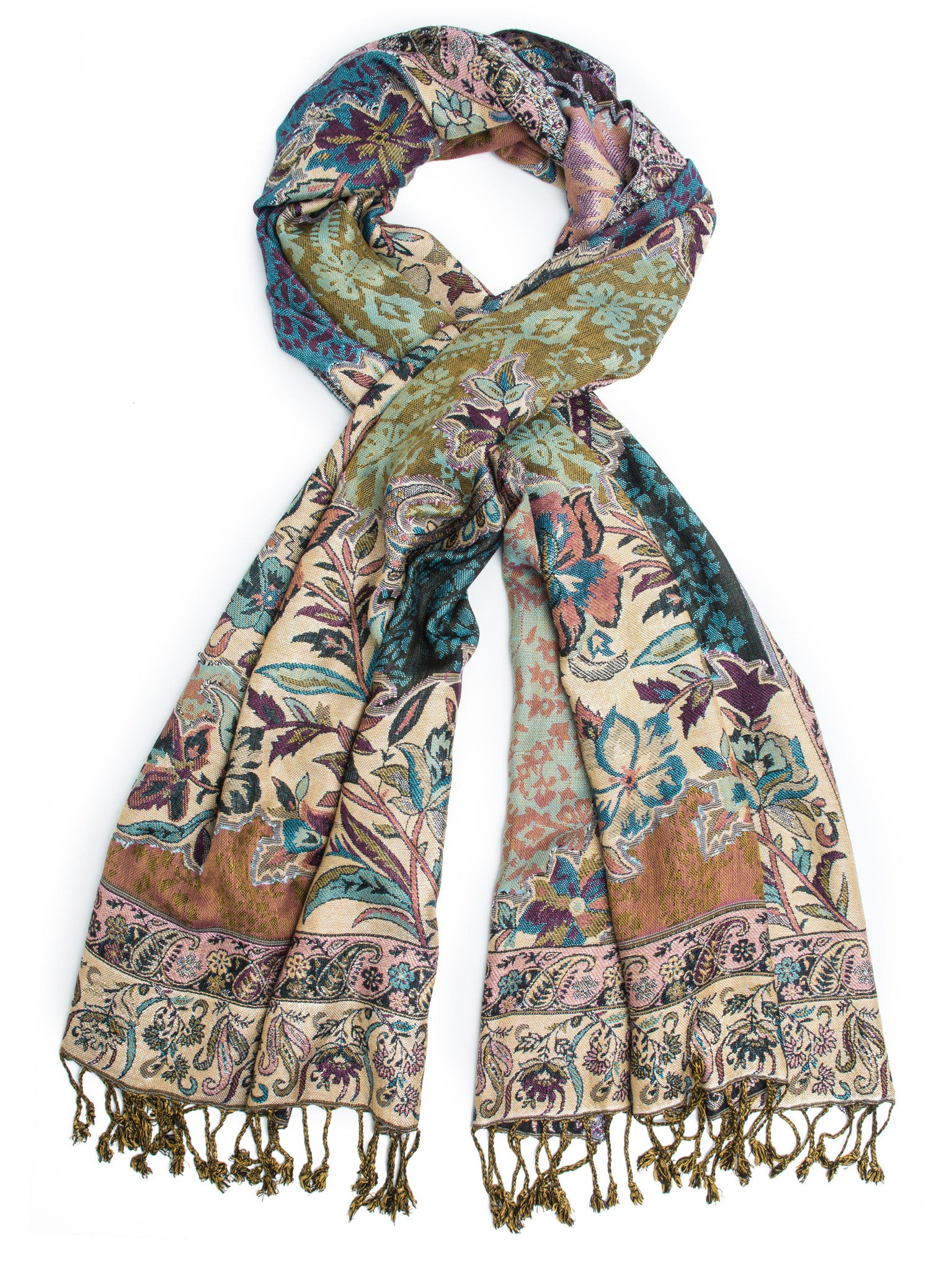 Scarves - Bethshaya Reversible Cashmere Silk Pashmina Scarf, hand made in India -() Bohomonde  - 6
