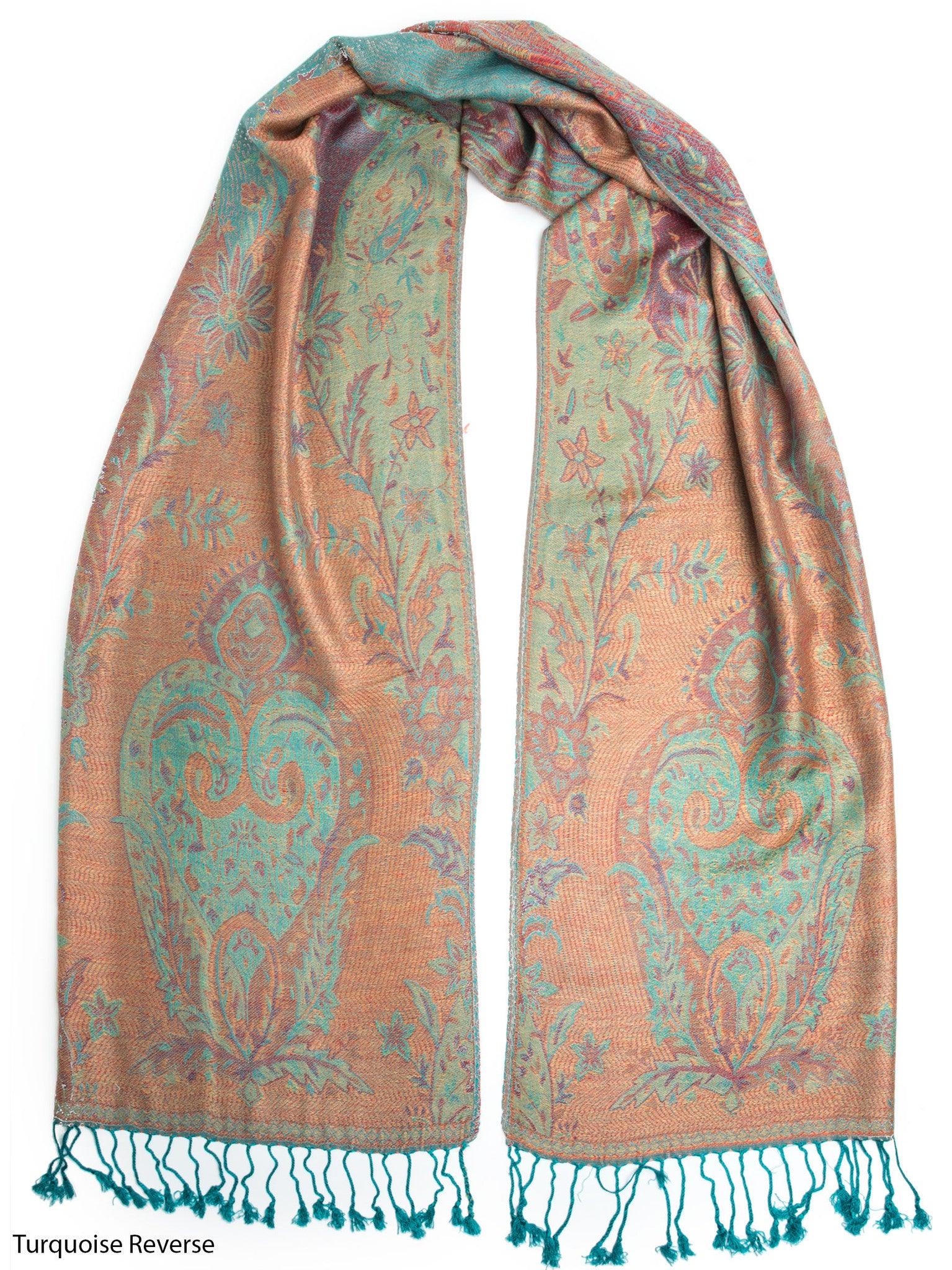 Scarves - Ramaya Scarf, Reversible Pashmina Indian Paisley Traditional Jacquard Scarf -() Bohomonde  - 4