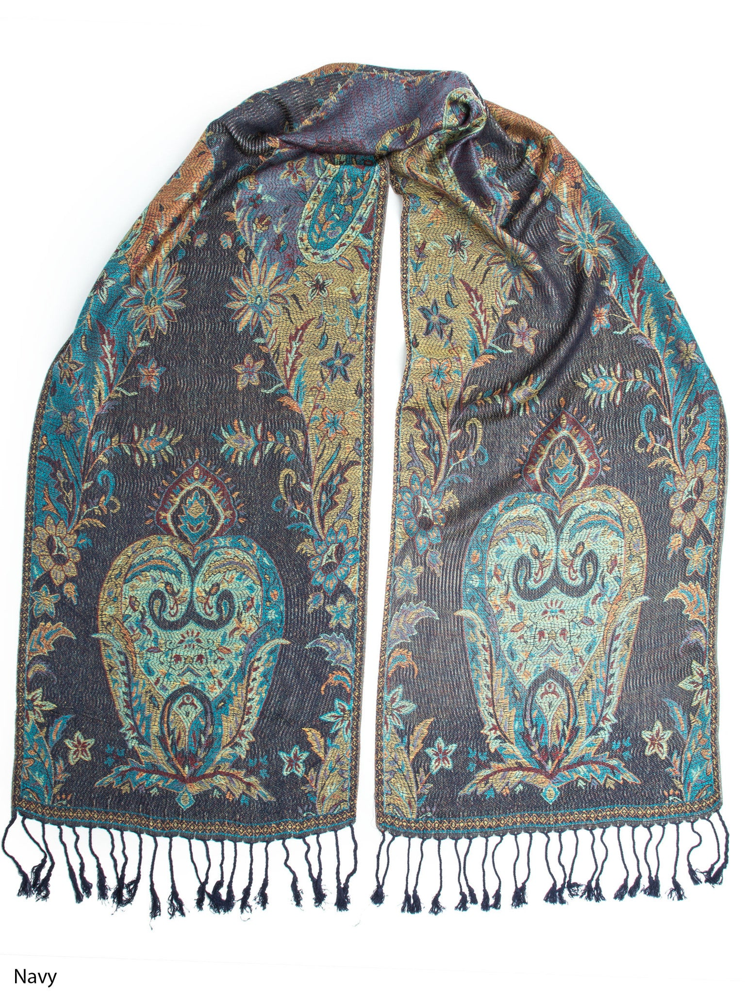 Scarves - Ramaya Scarf, Reversible Pashmina Indian Paisley Traditional Jacquard Scarf -(Navy) Bohomonde  - 5