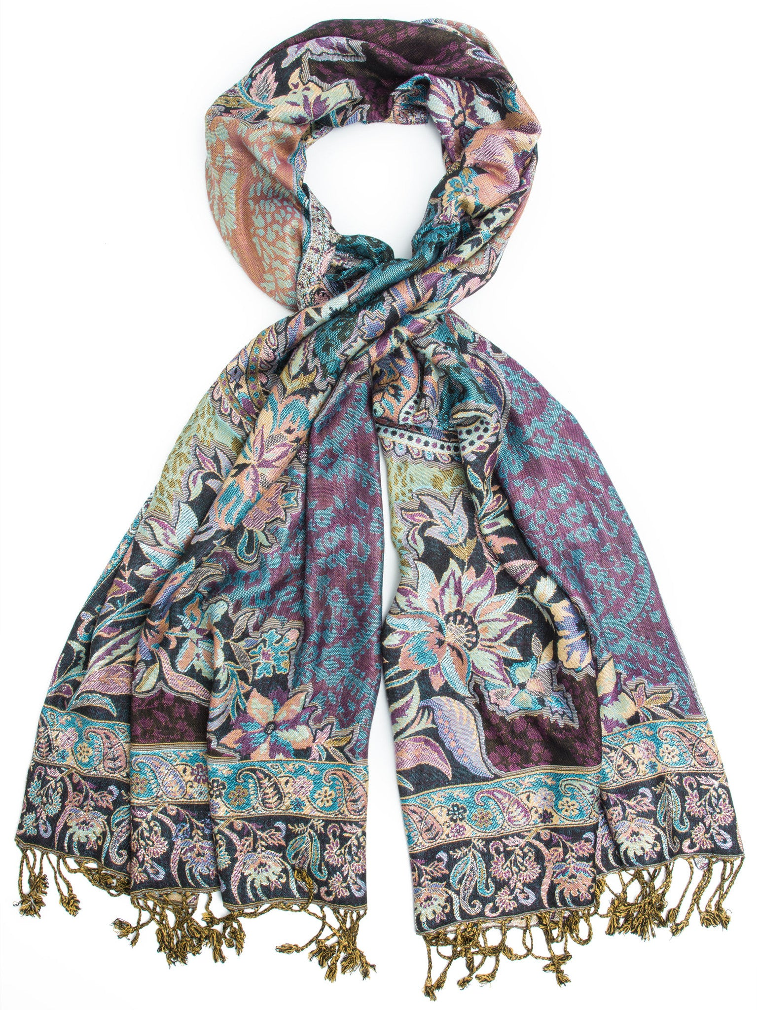 Scarves - Bethshaya Reversible Cashmere Silk Pashmina Scarf, hand made in India -(Multi) Bohomonde  - 1