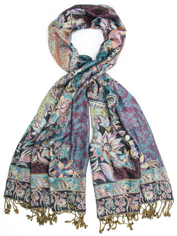 Ramaya Scarf, Reversible Pashmina Indian Paisley Traditional Jacquard Scarf