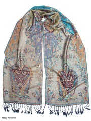 Scarves - Ramaya Scarf, Reversible Pashmina Indian Paisley Traditional Jacquard Scarf -() Bohomonde  - 6