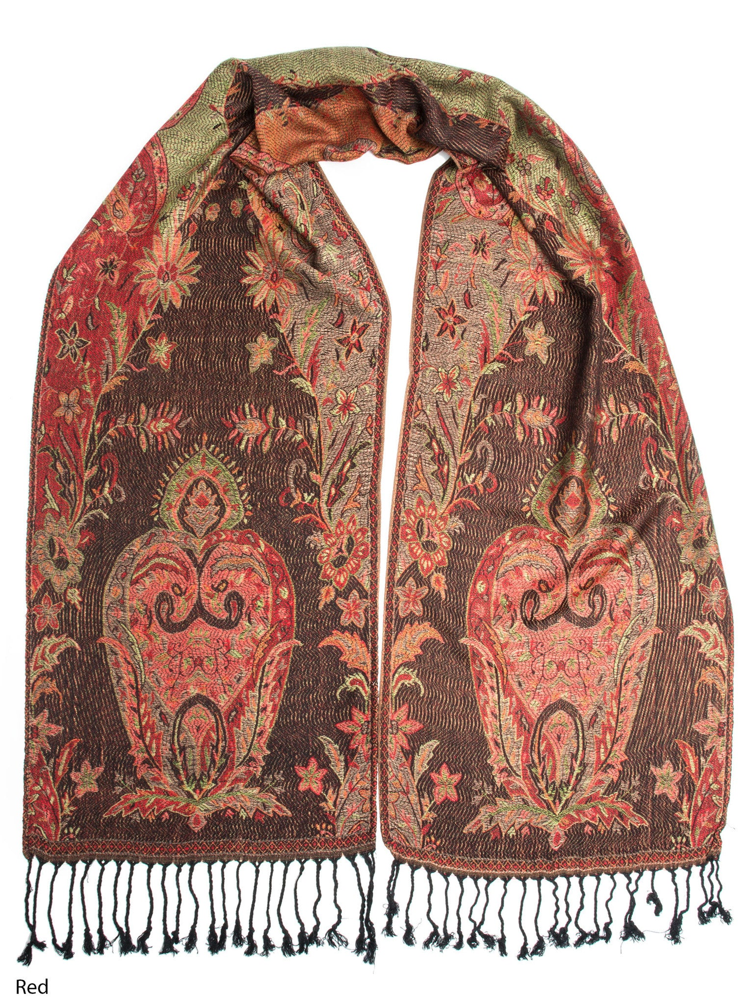 Scarves - Ramaya Scarf, Reversible Pashmina Indian Paisley Traditional Jacquard Scarf -(Red) Bohomonde  - 9