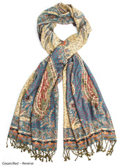 Scarves - Hana Reversible Cashmere Silk Pashmina Scarf, hand made in India -() Bohomonde  - 2