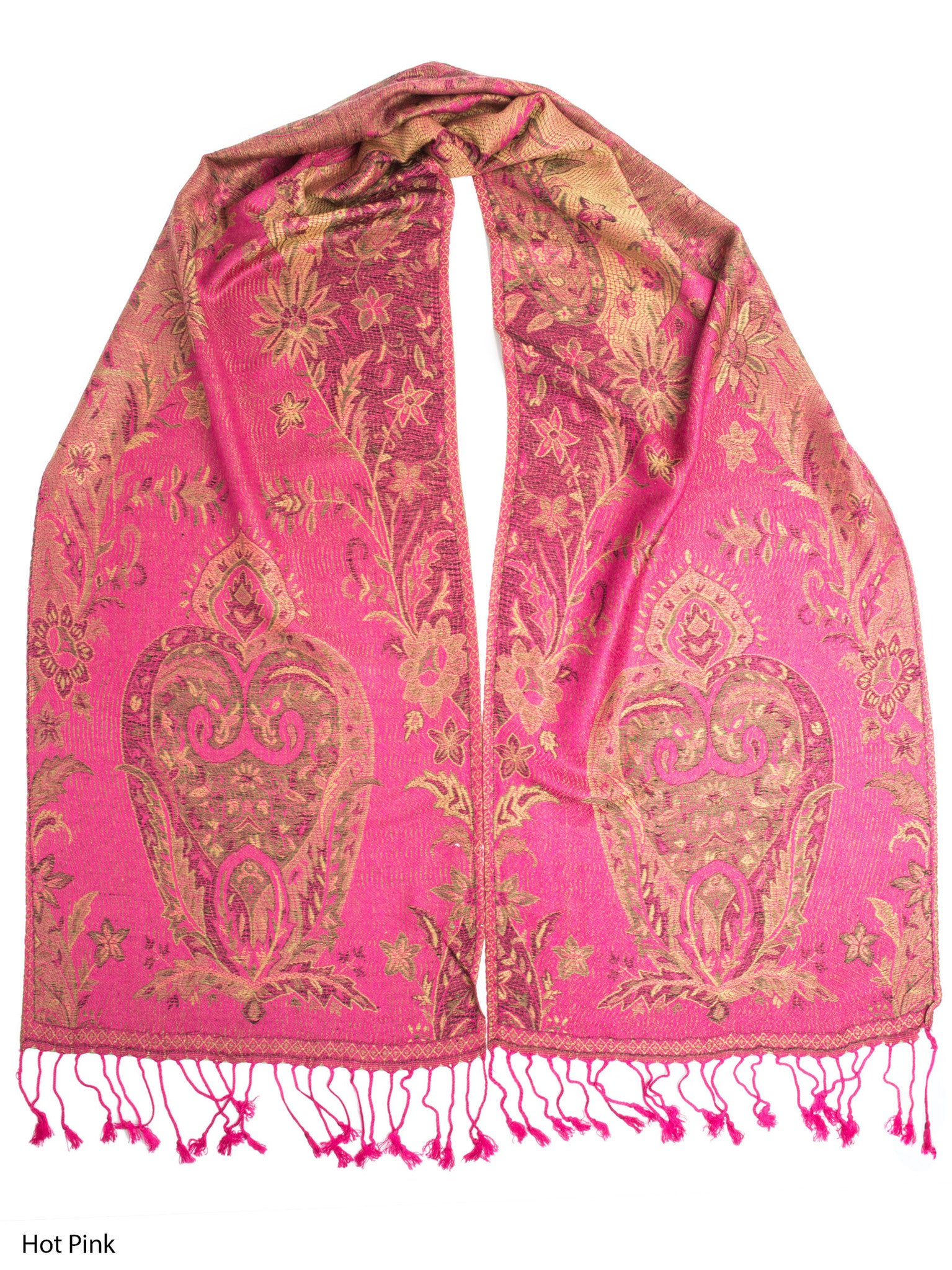 Scarves - Ramaya Scarf, Reversible Pashmina Indian Paisley Traditional Jacquard Scarf -(Hot Pink) Bohomonde  - 11