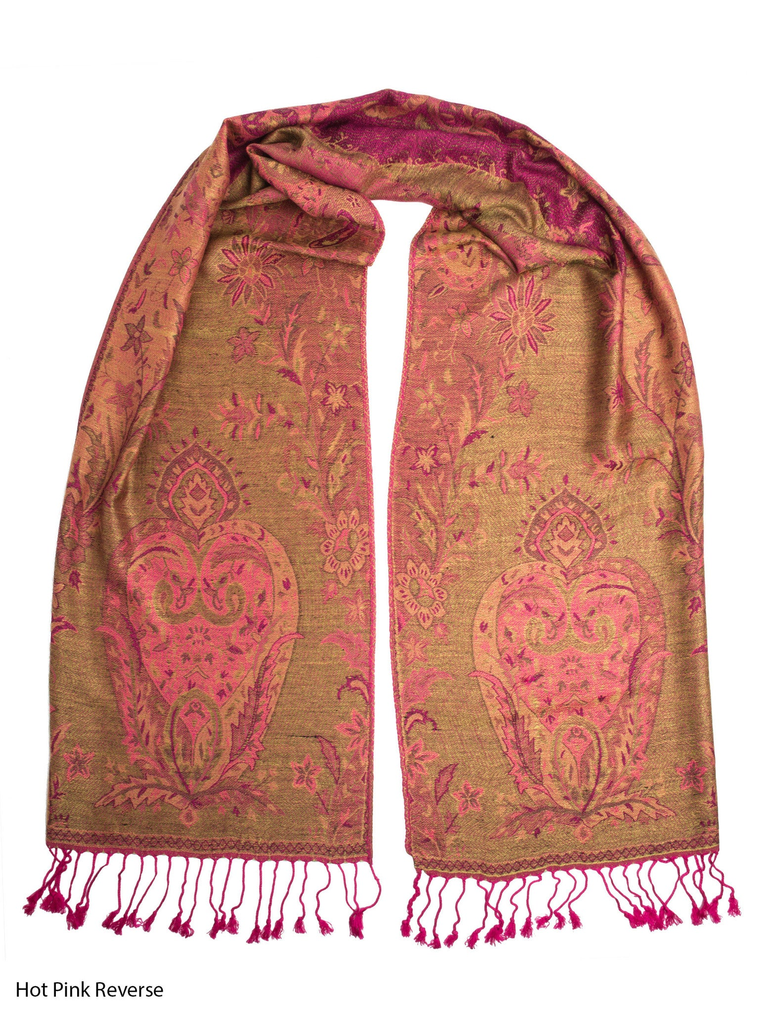 Scarves - Ramaya Scarf, Reversible Pashmina Indian Paisley Traditional Jacquard Scarf -() Bohomonde  - 12