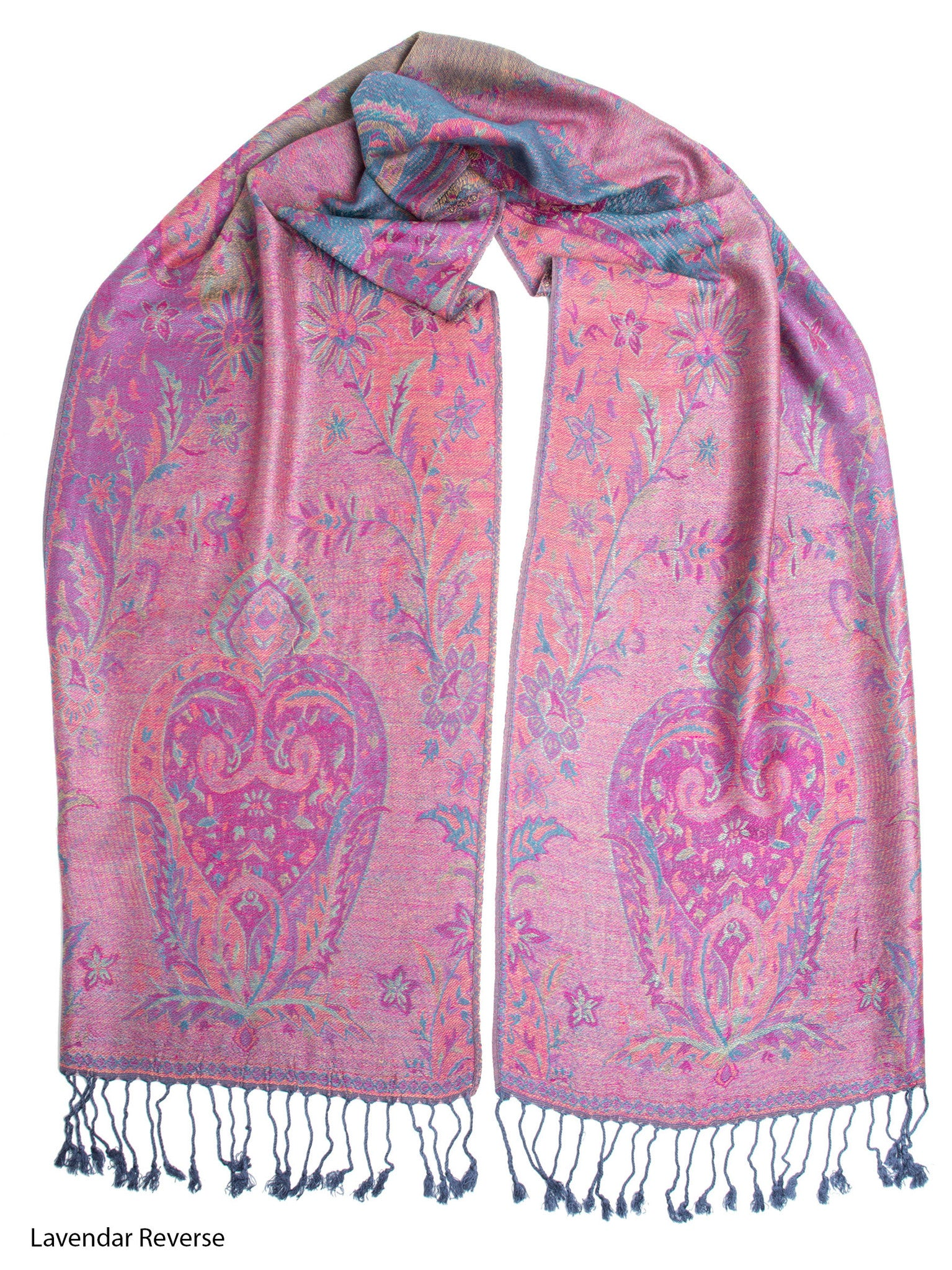 Scarves - Ramaya Scarf, Reversible Pashmina Indian Paisley Traditional Jacquard Scarf -() Bohomonde  - 8