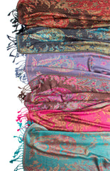 Scarves - Ramaya Scarf, Reversible Pashmina Indian Paisley Traditional Jacquard Scarf -() Bohomonde  - 13
