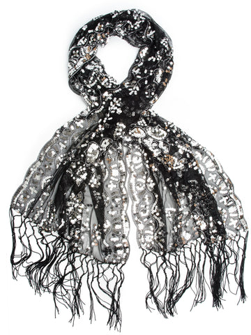 Scarves - Cecily Vintage Inspired Embroidered Sequin Evening Wrap, Fringe Shawl -(Black/Silver) Bohomonde  - 1