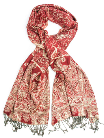 Scarves - Chana Reversible Cashmere Silk Pashmina Scarf or Shawl -(Red/Cream) Bohomonde  - 1