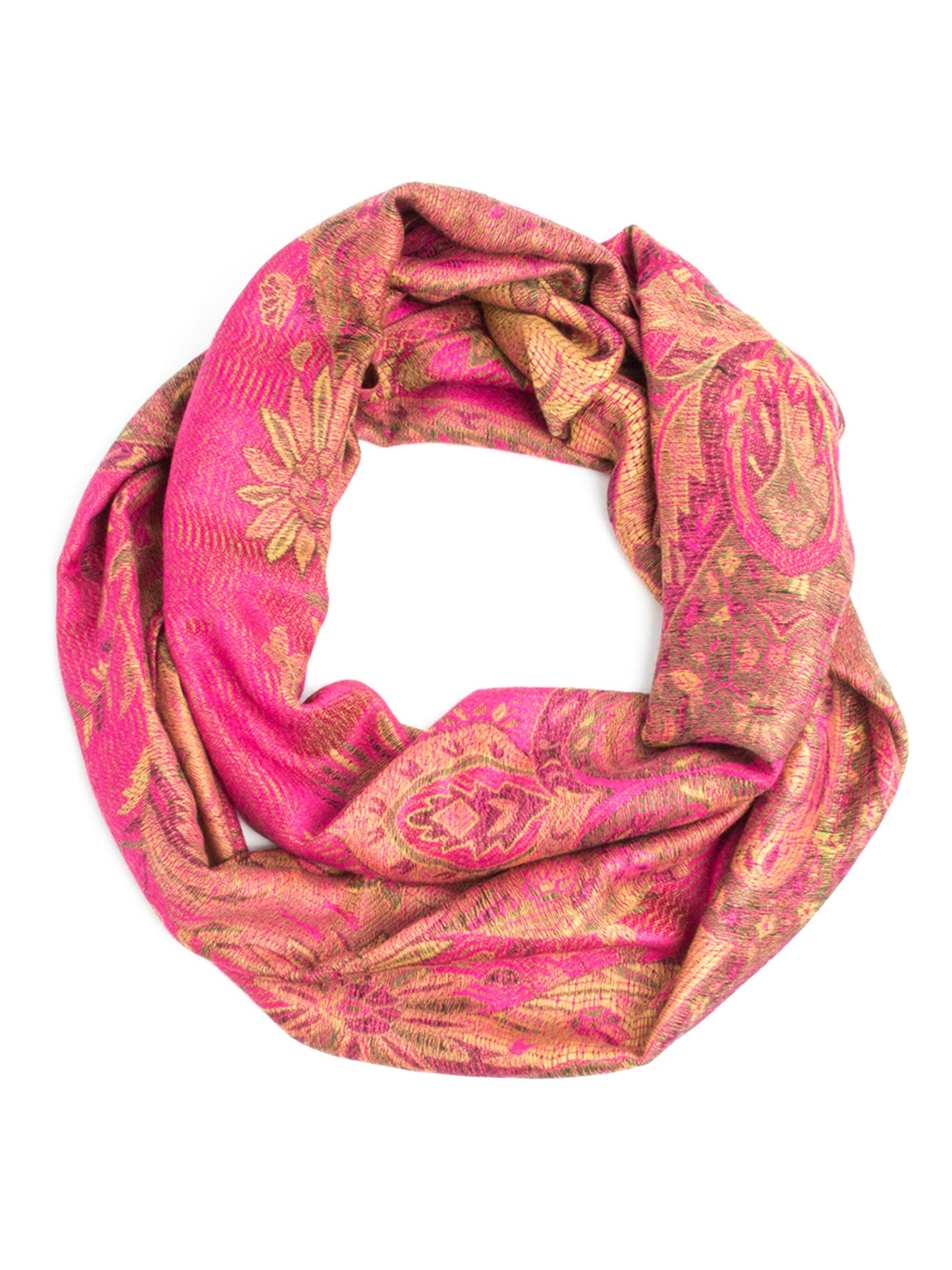 Scarves - Ramaya Infinity Scarf - Richly Colored Rare Infinity Pashmina Scarf -(Hot Pink) Bohomonde  - 7