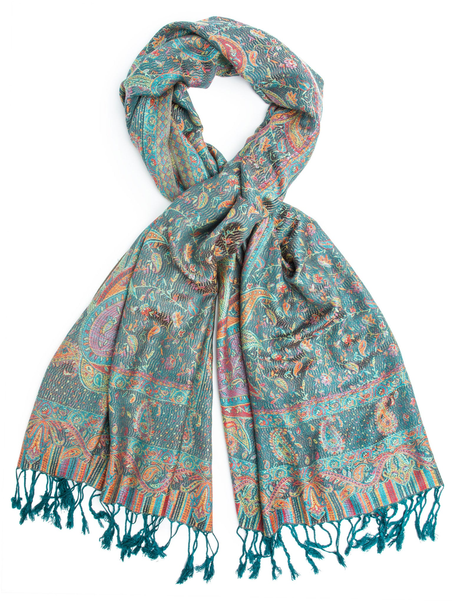 Scarves - Tiaja Scarf, Pashmina Indian Paisley Traditional Jacquard Scarf - hand made in India -(Teal) Bohomonde  - 1