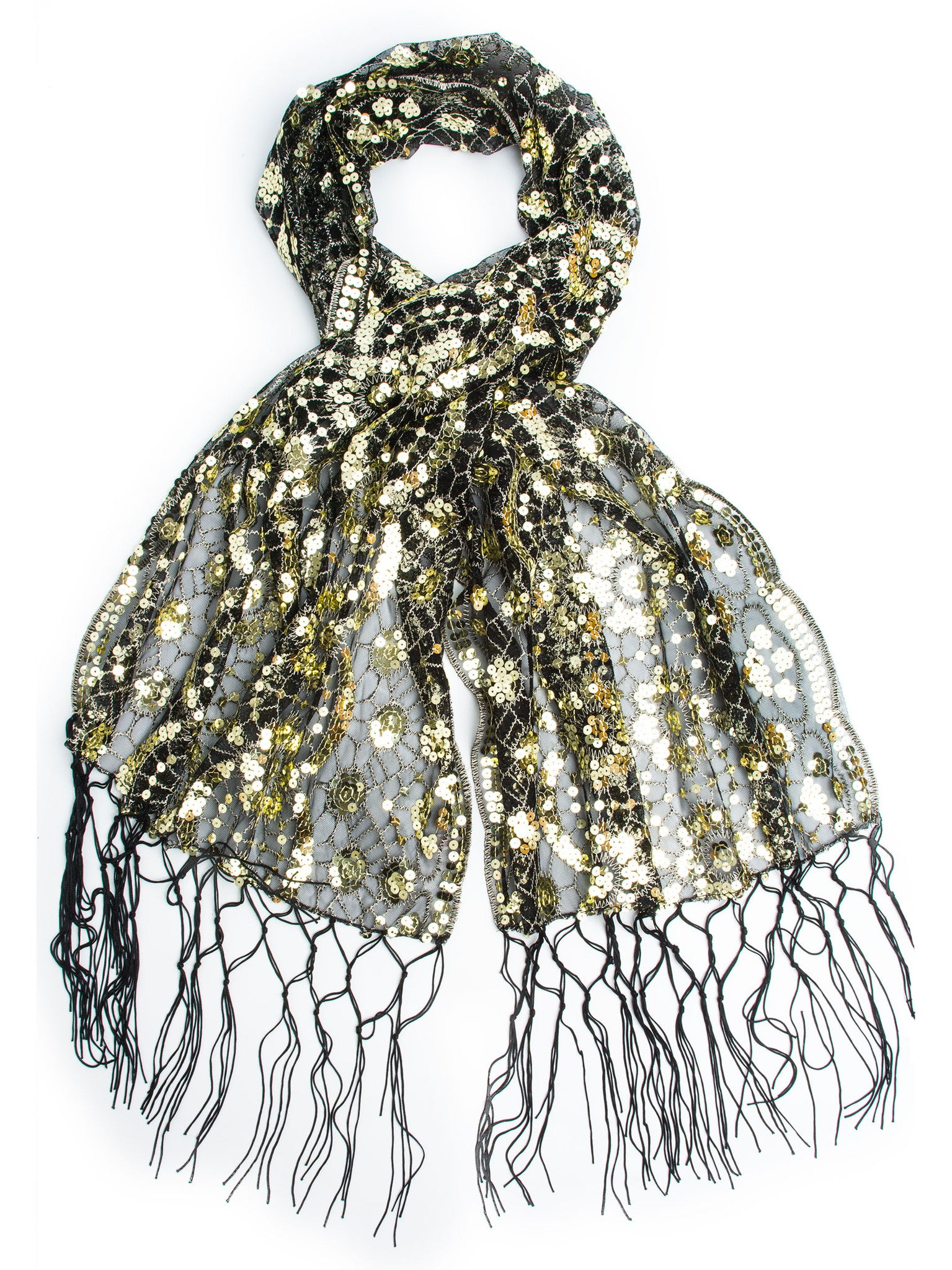 Scarves - Vera, Vintage Inspired Sequin Shawl, Evening Wrap, Embroidered Sequin Fringe Shawl or Scarf -(Black/Gold) Bohomonde  - 1