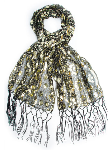 Amaryllis Shawl, Vintage Inspired Sequin Evening Wrap, Embroidered Sequin Shawl, Scarf