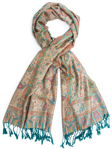 Scarves - Tiaja Scarf, Pashmina Indian Paisley Traditional Jacquard Scarf - hand made in India -() Bohomonde  - 3