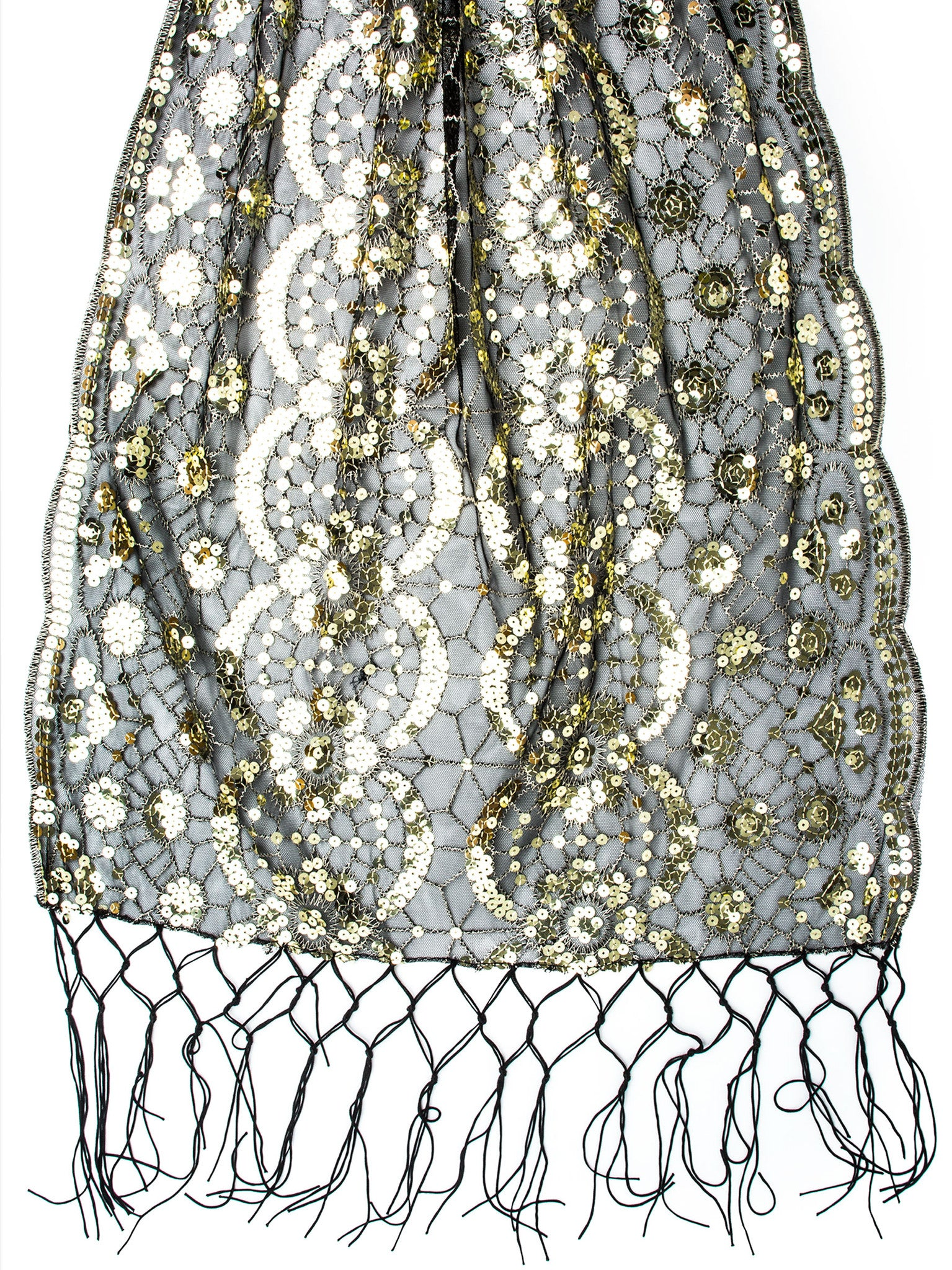 Scarves - Vera, Vintage Inspired Sequin Shawl, Evening Wrap, Embroidered Sequin Fringe Shawl or Scarf -() Bohomonde  - 8