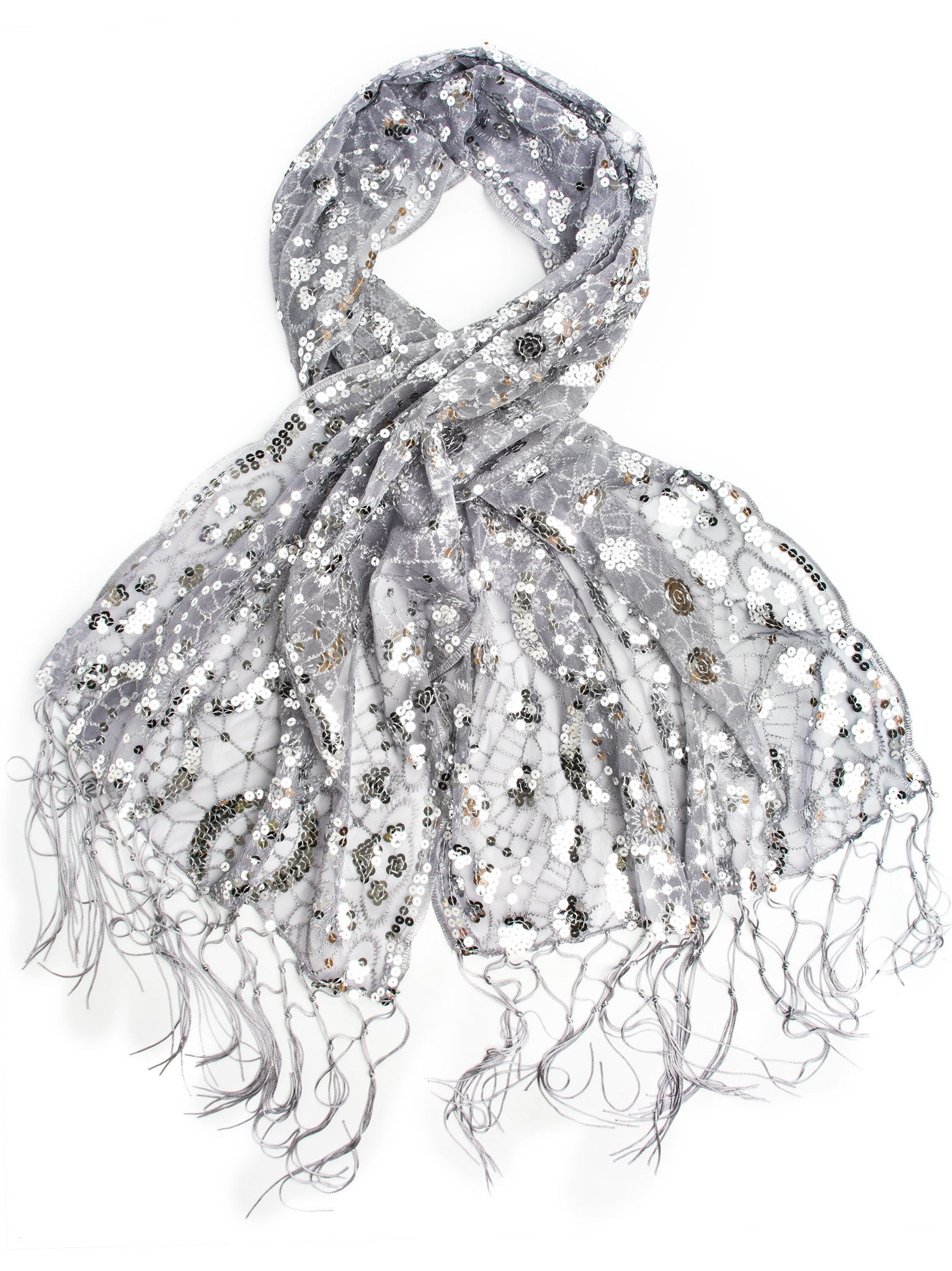 Scarves - Vera, Vintage Inspired Sequin Shawl, Evening Wrap, Embroidered Sequin Fringe Shawl or Scarf -(Gray/Silver) Bohomonde  - 4