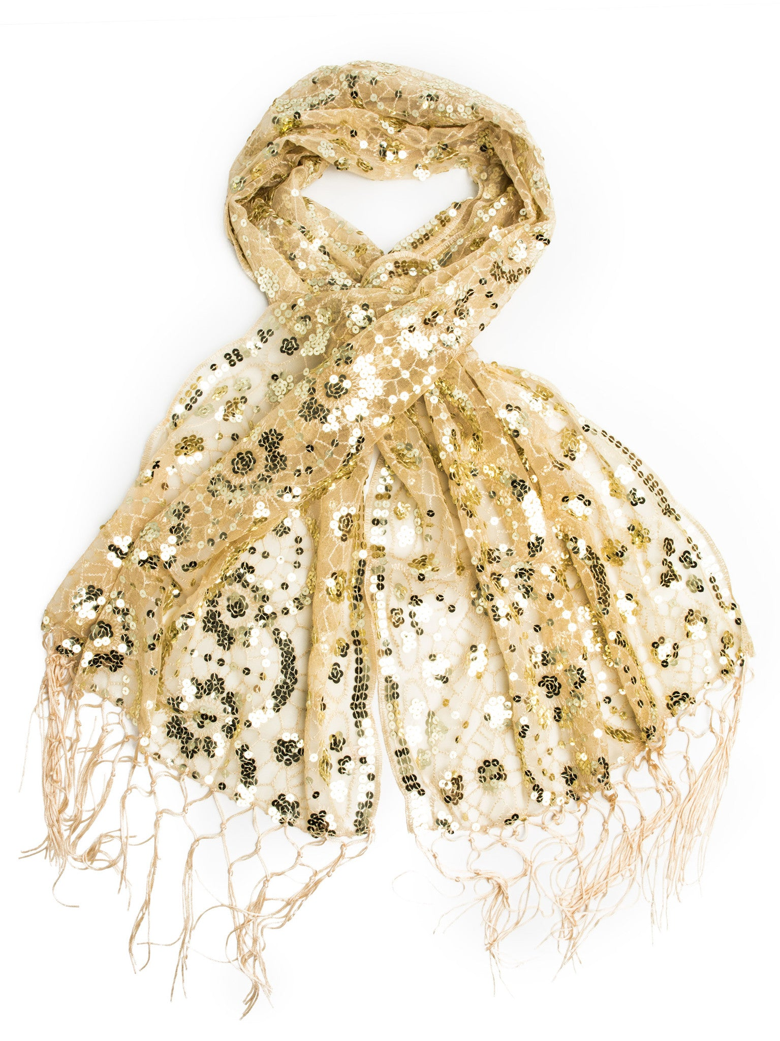 Scarves - Vera, Vintage Inspired Sequin Shawl, Evening Wrap, Embroidered Sequin Fringe Shawl or Scarf -(Gold/Gold) Bohomonde  - 5