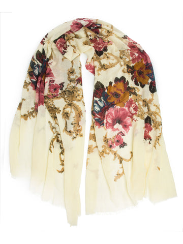 Scarves - Eleanor blanket scarf, oversized winter scarf, floral scarf -(Ivory) Bohomonde  - 1