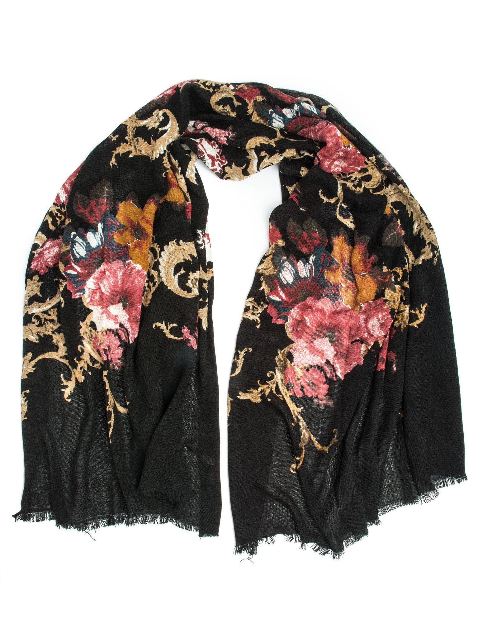 Scarves - Eleanor blanket scarf, oversized winter scarf, floral scarf -(Black) Bohomonde  - 2