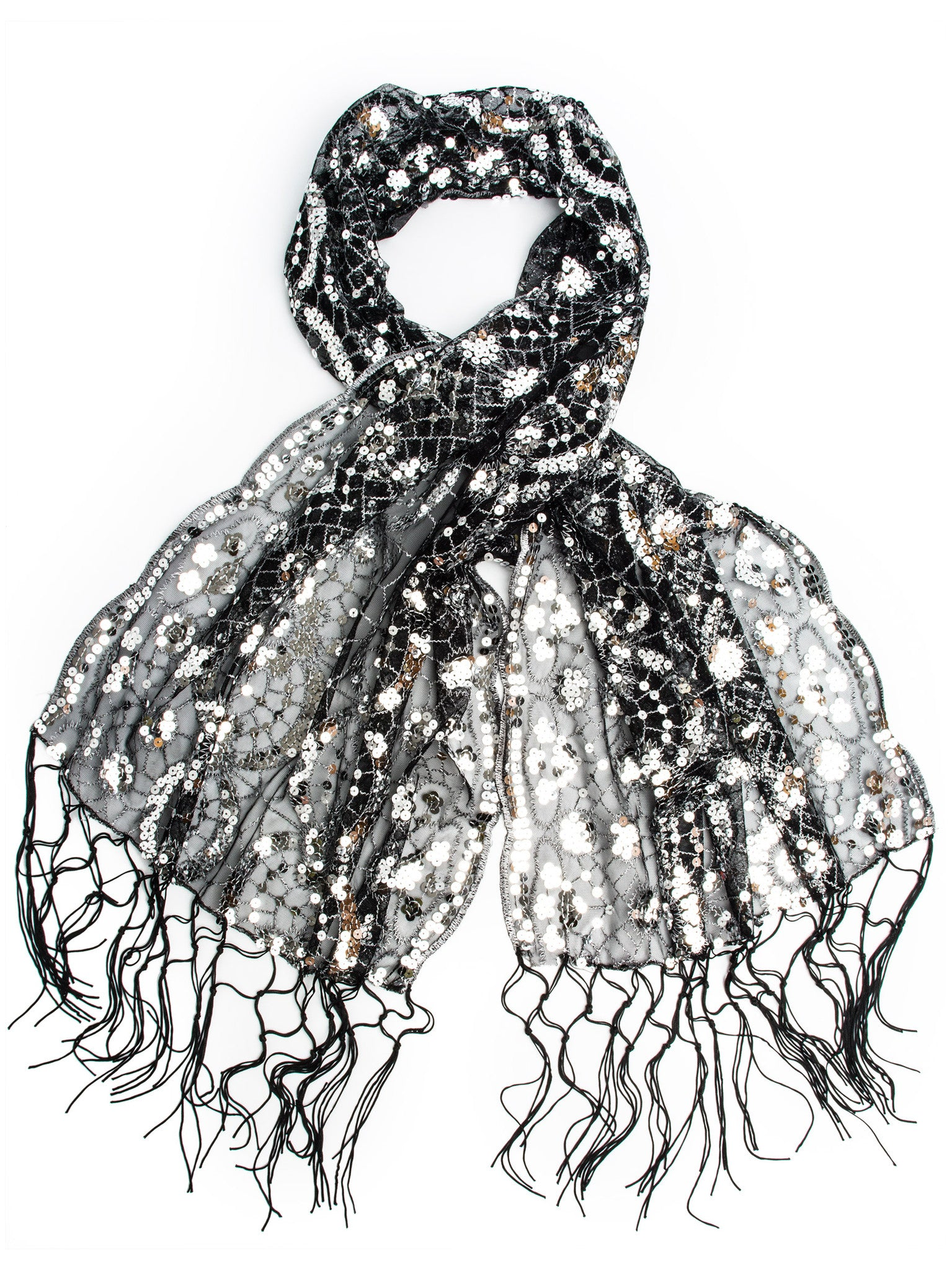 Scarves - Vera, Vintage Inspired Sequin Shawl, Evening Wrap, Embroidered Sequin Fringe Shawl or Scarf -(Black/Silver) Bohomonde  - 3