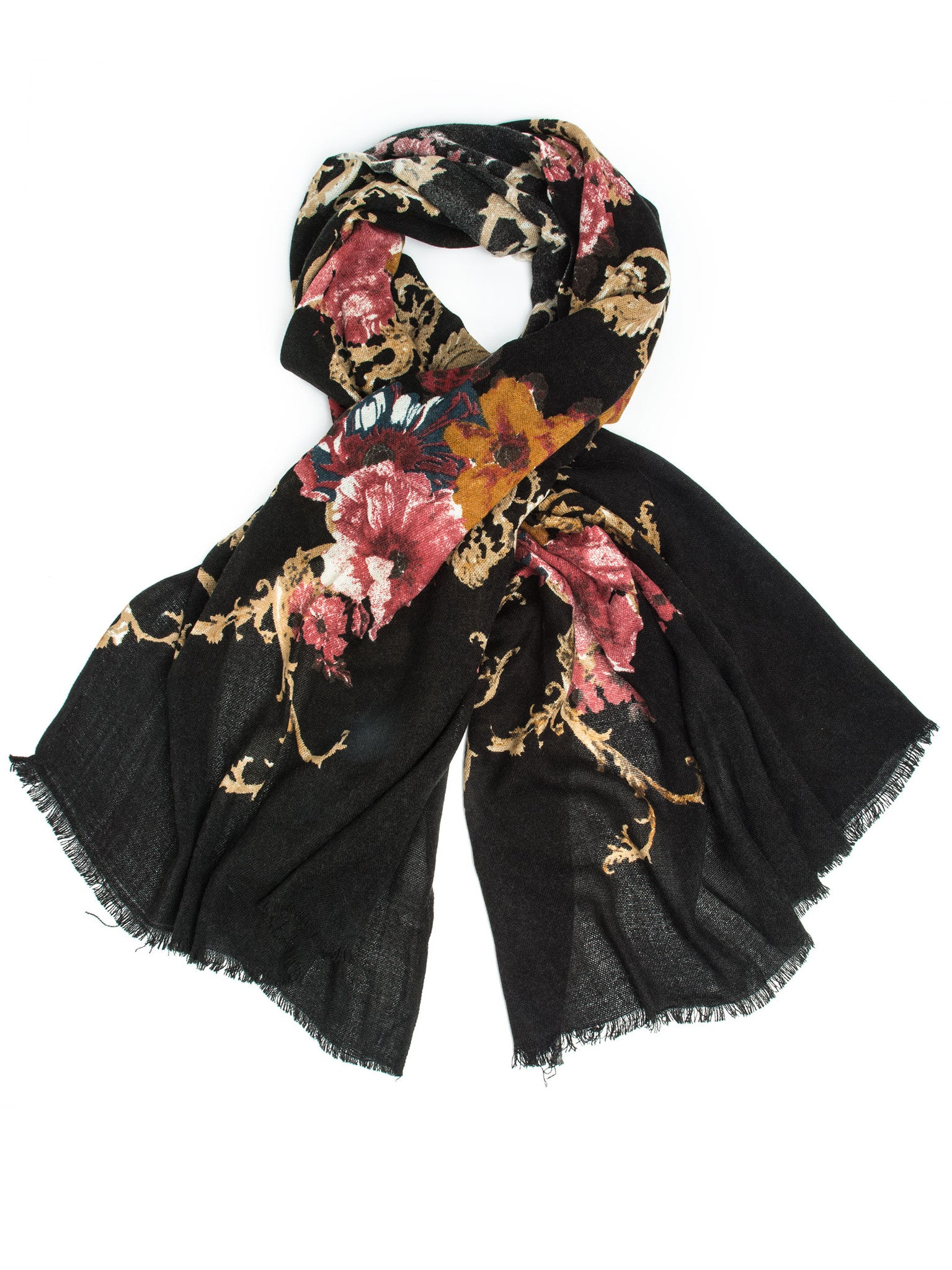 Scarves - Eleanor blanket scarf, oversized winter scarf, floral scarf -() Bohomonde  - 4