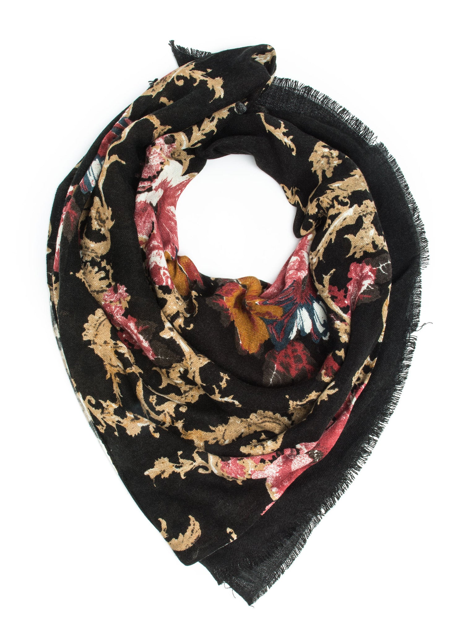 Scarves - Eleanor blanket scarf, oversized winter scarf, floral scarf -() Bohomonde  - 6