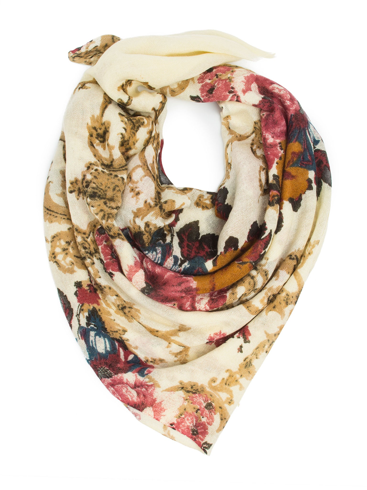 Scarves - Eleanor blanket scarf, oversized winter scarf, floral scarf -() Bohomonde  - 5