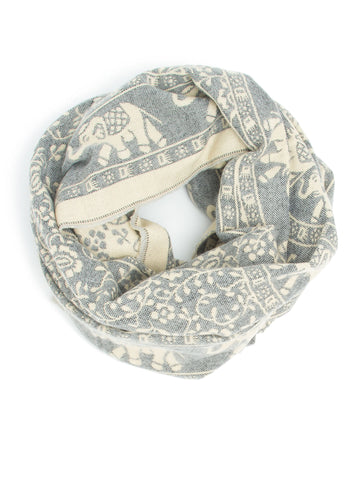 Scarves - Hathi Winter Infinity Scarf, Blanket Scarf, Indian Elephant Design -(Gray/Ivory) Bohomonde  - 1