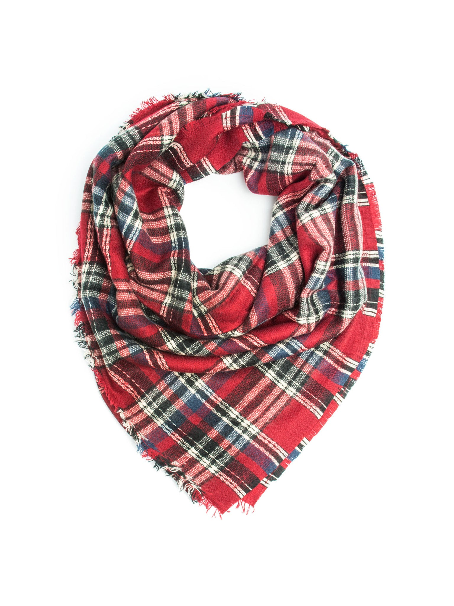 Scarves - Carrie, Oversize Plaid Blanket Scarf, Soft Warm Winter Scarf or Shawl -(Red/Cream/Navy) Bohomonde  - 1