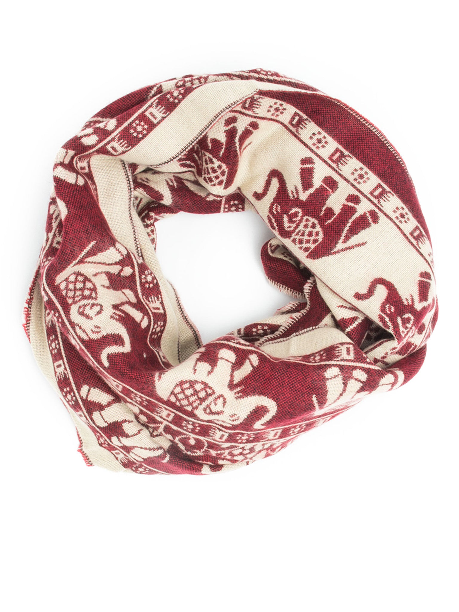 Scarves - Hathi Winter Infinity Scarf, Blanket Scarf, Indian Elephant Design -(Berry/Ivory) Bohomonde  - 2