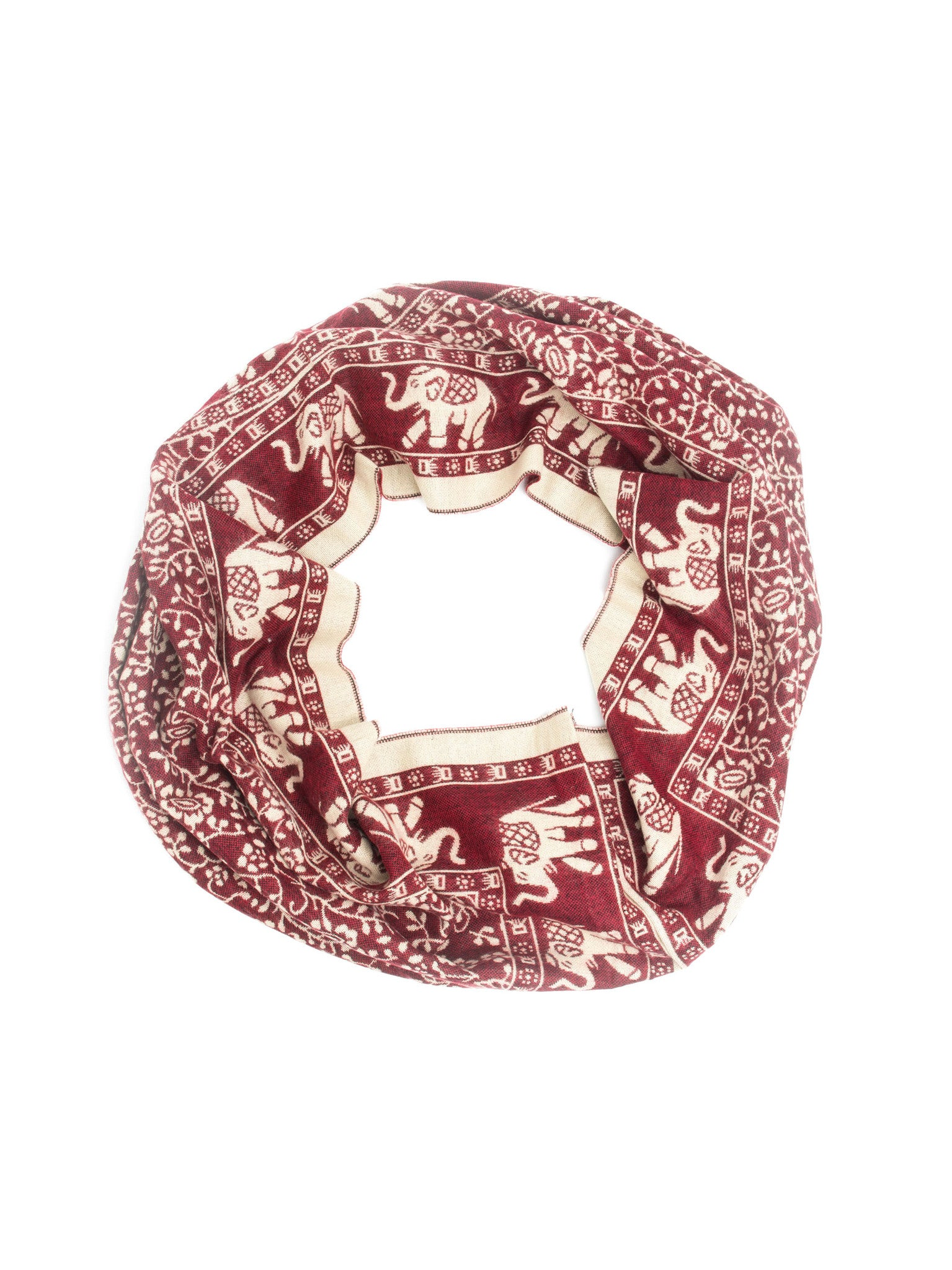 Scarves - Hathi Winter Infinity Scarf, Blanket Scarf, Indian Elephant Design -() Bohomonde  - 11