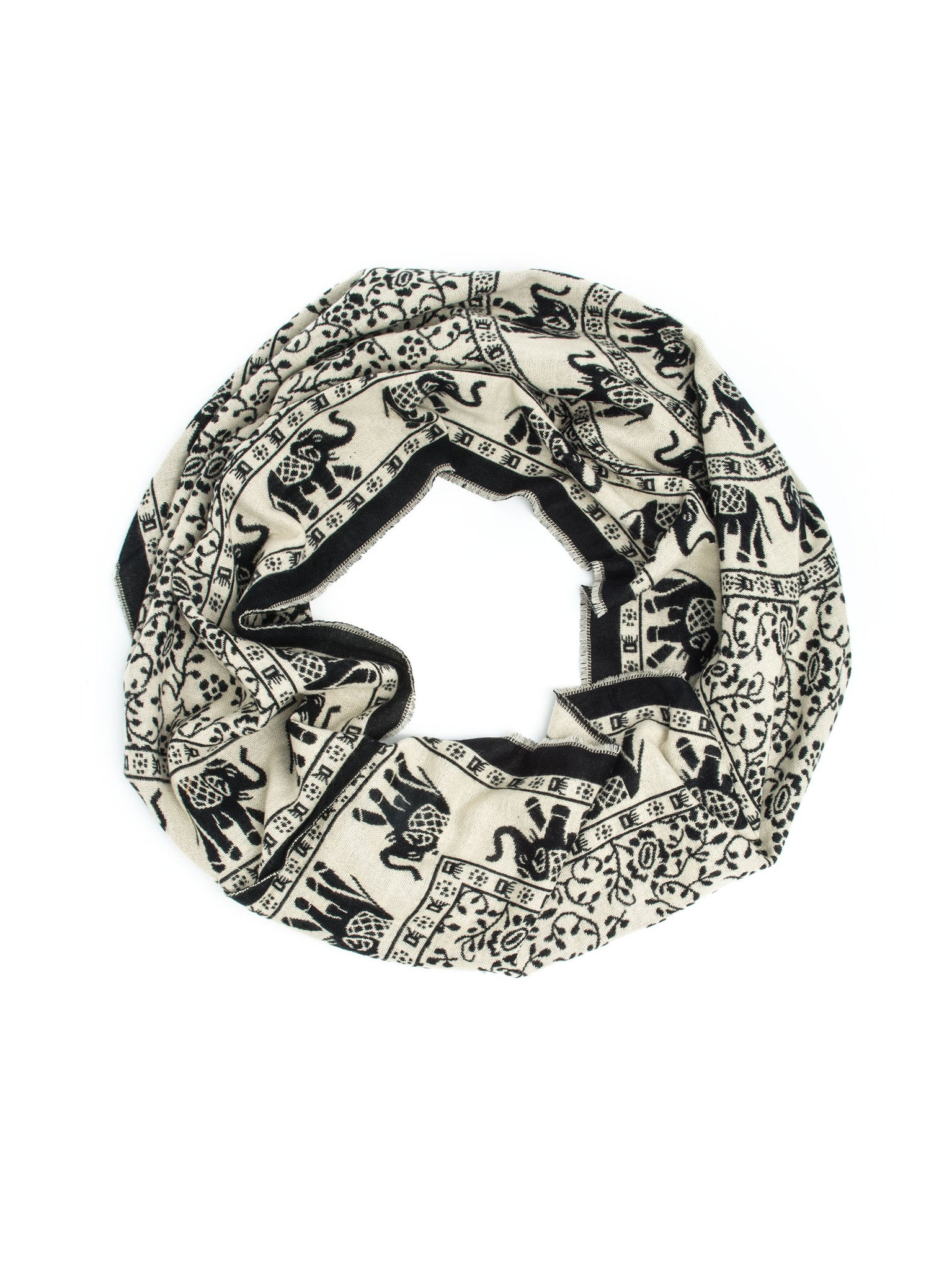 Scarves - Hathi Winter Infinity Scarf, Blanket Scarf, Indian Elephant Design -() Bohomonde  - 10