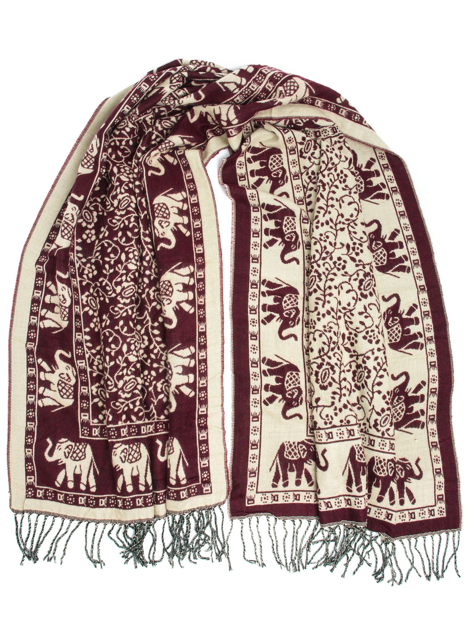 Scarves - Hathi Winter Blanket Scarf, Woven Indian Elephant Design -() Bohomonde  - 6