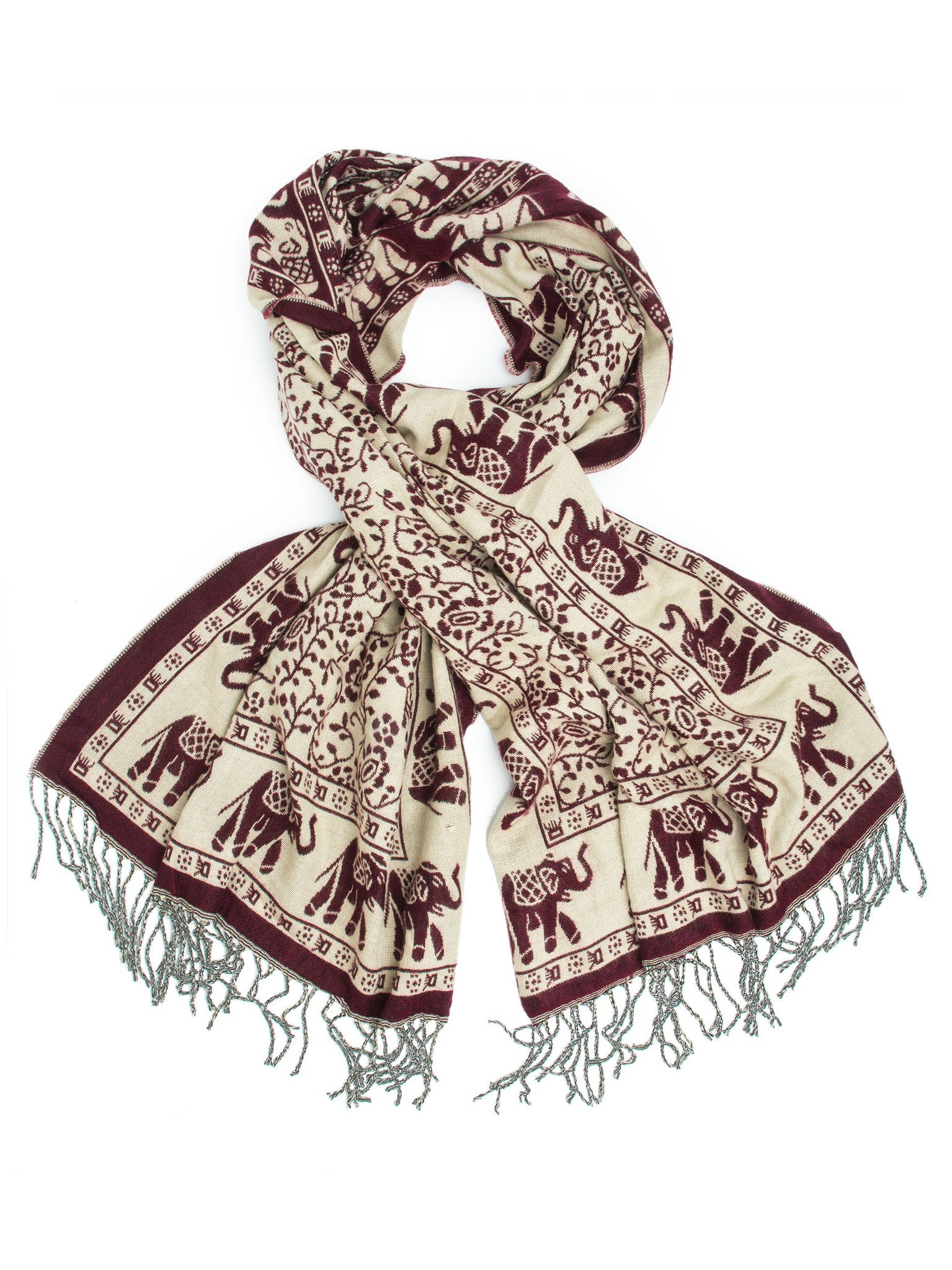 Scarves - Hathi Winter Blanket Scarf, Woven Indian Elephant Design -() Bohomonde  - 8