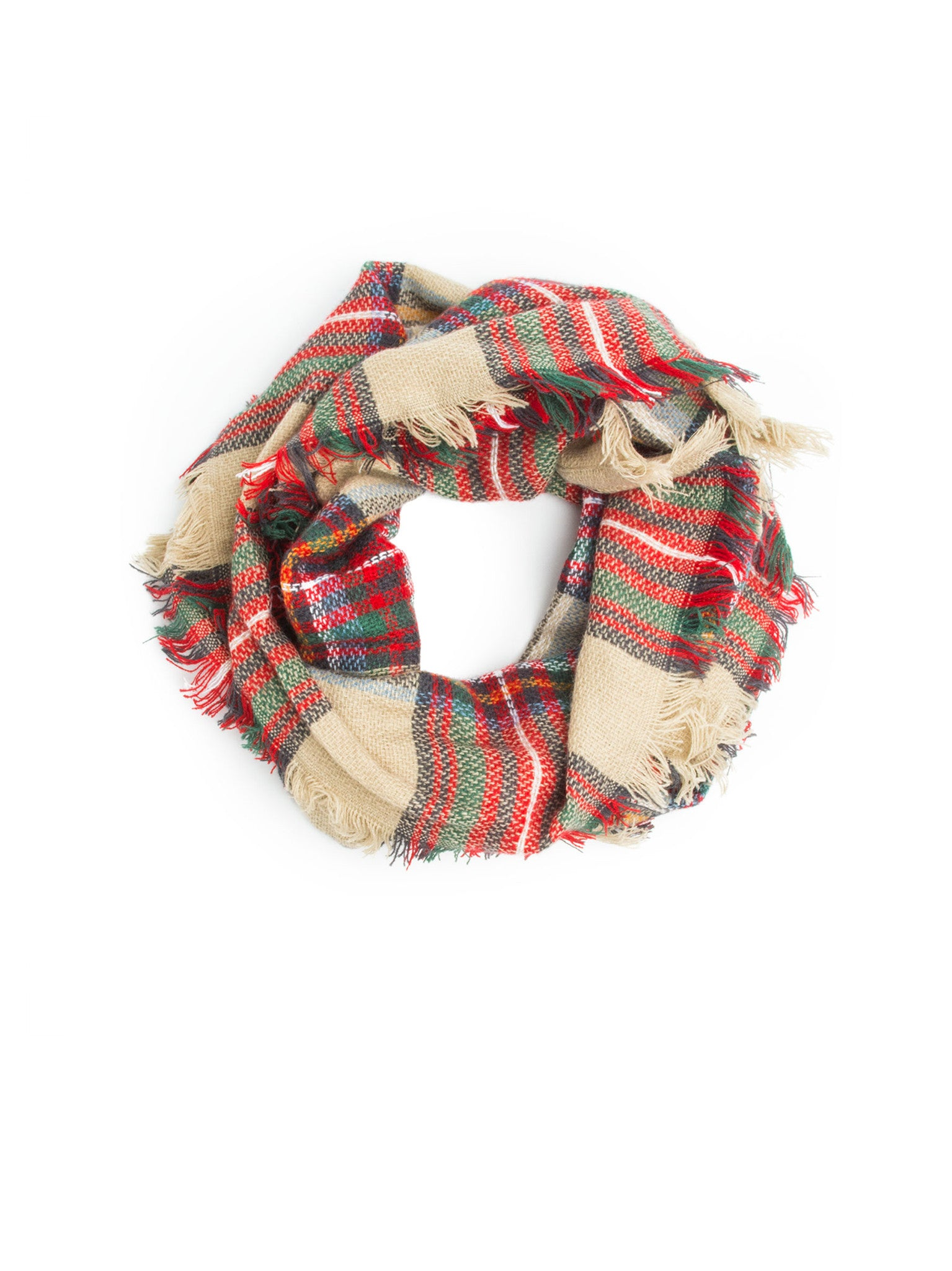Scarves - Moira Plaid Blanket Infinity Scarf, Plaid Infinity Scarf -(Red) Bohomonde  - 1