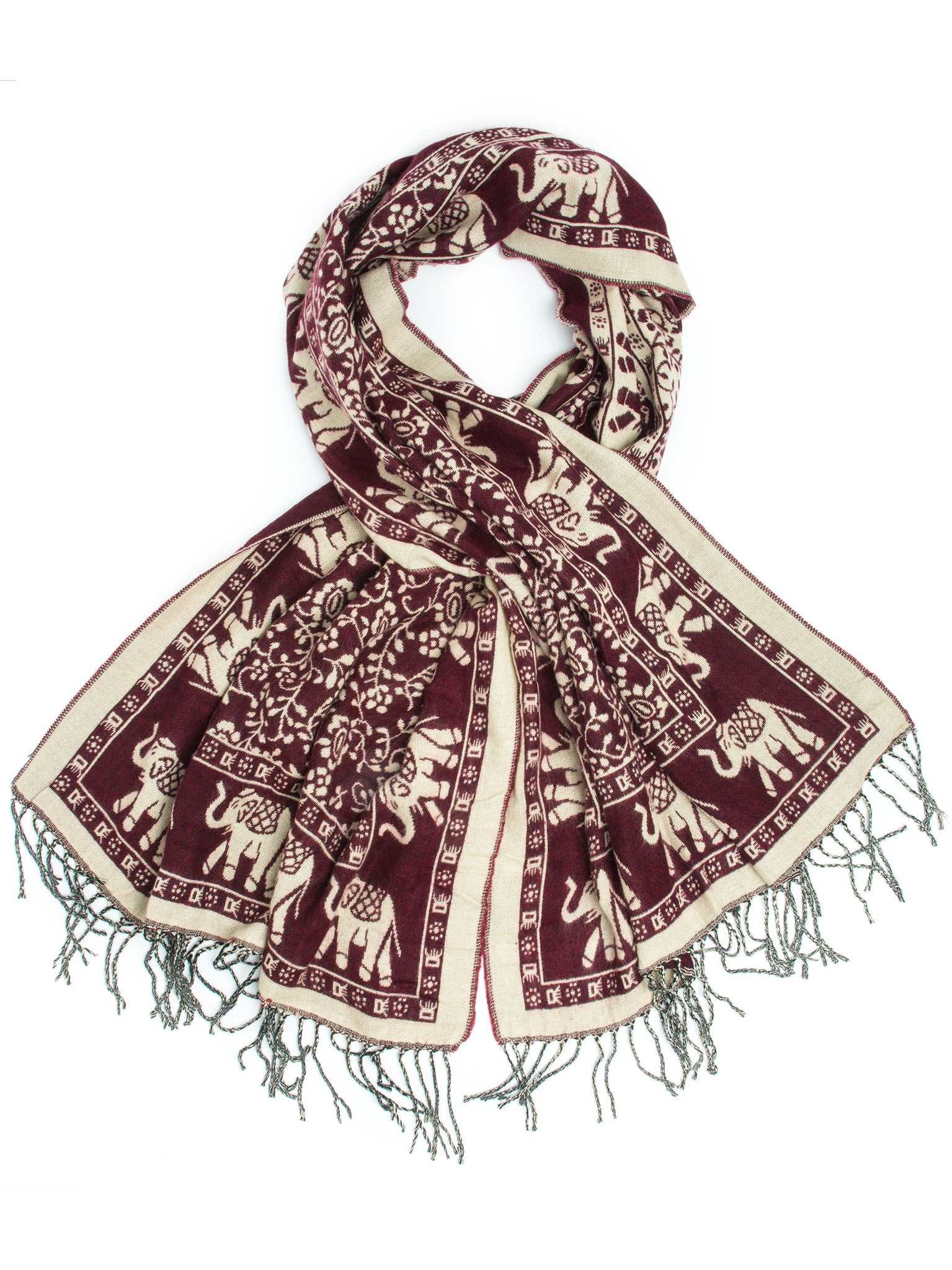 Scarves - Hathi Winter Blanket Scarf, Woven Indian Elephant Design -(Burgundy/Cream) Bohomonde  - 7