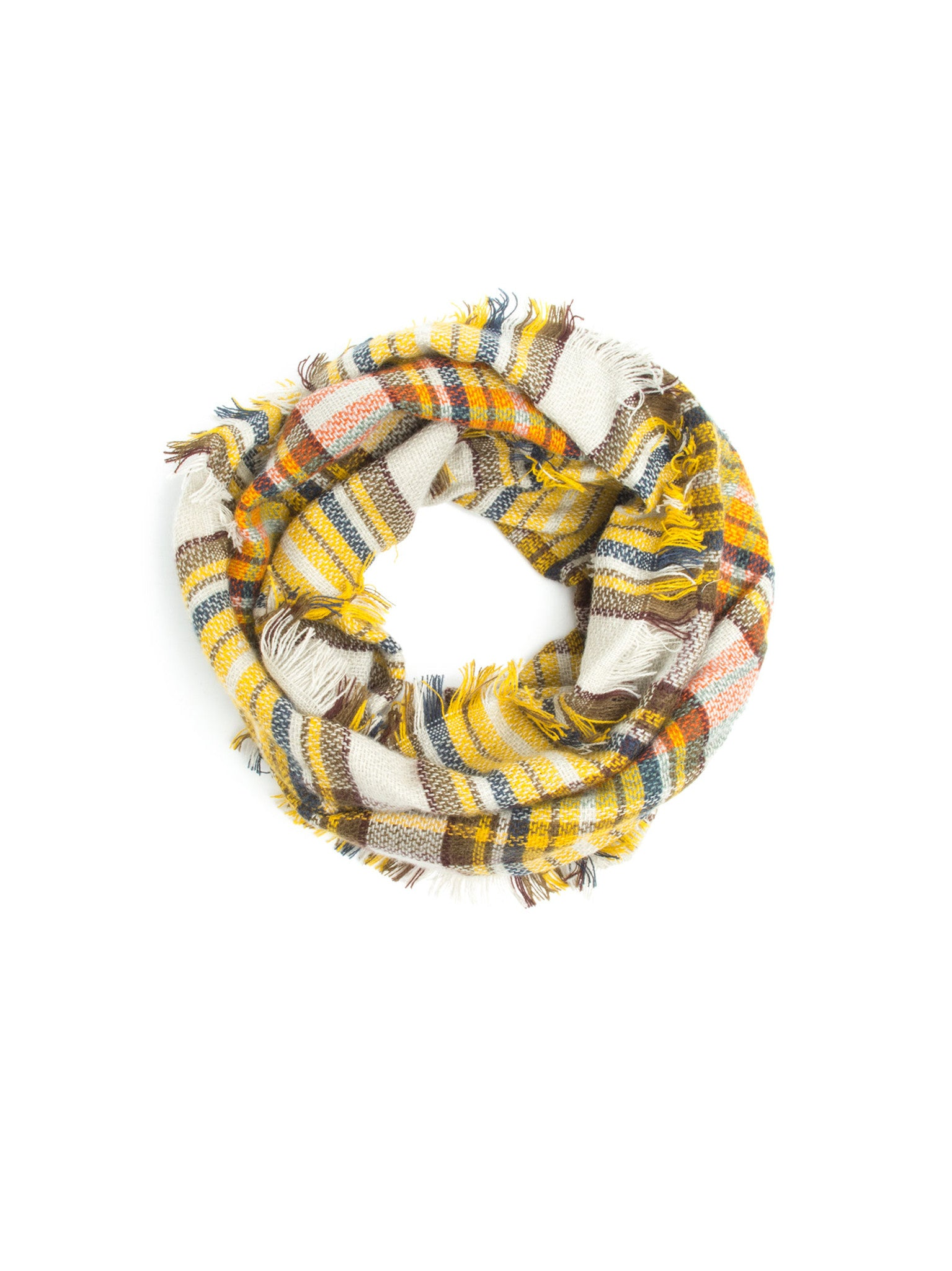 Scarves - Moira Plaid Blanket Infinity Scarf, Plaid Infinity Scarf -(Mustard) Bohomonde  - 4