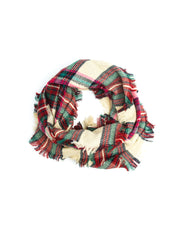 Scarves - Moira Plaid Blanket Infinity Scarf, Plaid Infinity Scarf -(Hot Pink) Bohomonde  - 6