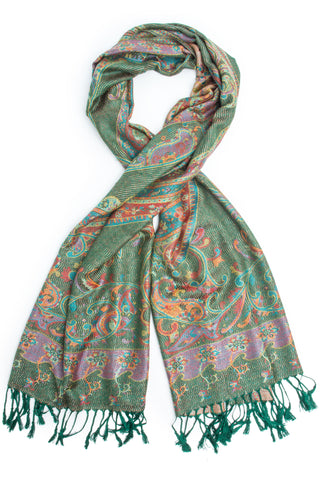 Scarves - Saka Reversible Pashmina Indian Paisley Traditional Jacquard Scarf - Hand Made in India -(Hunter Green) Bohomonde  - 1