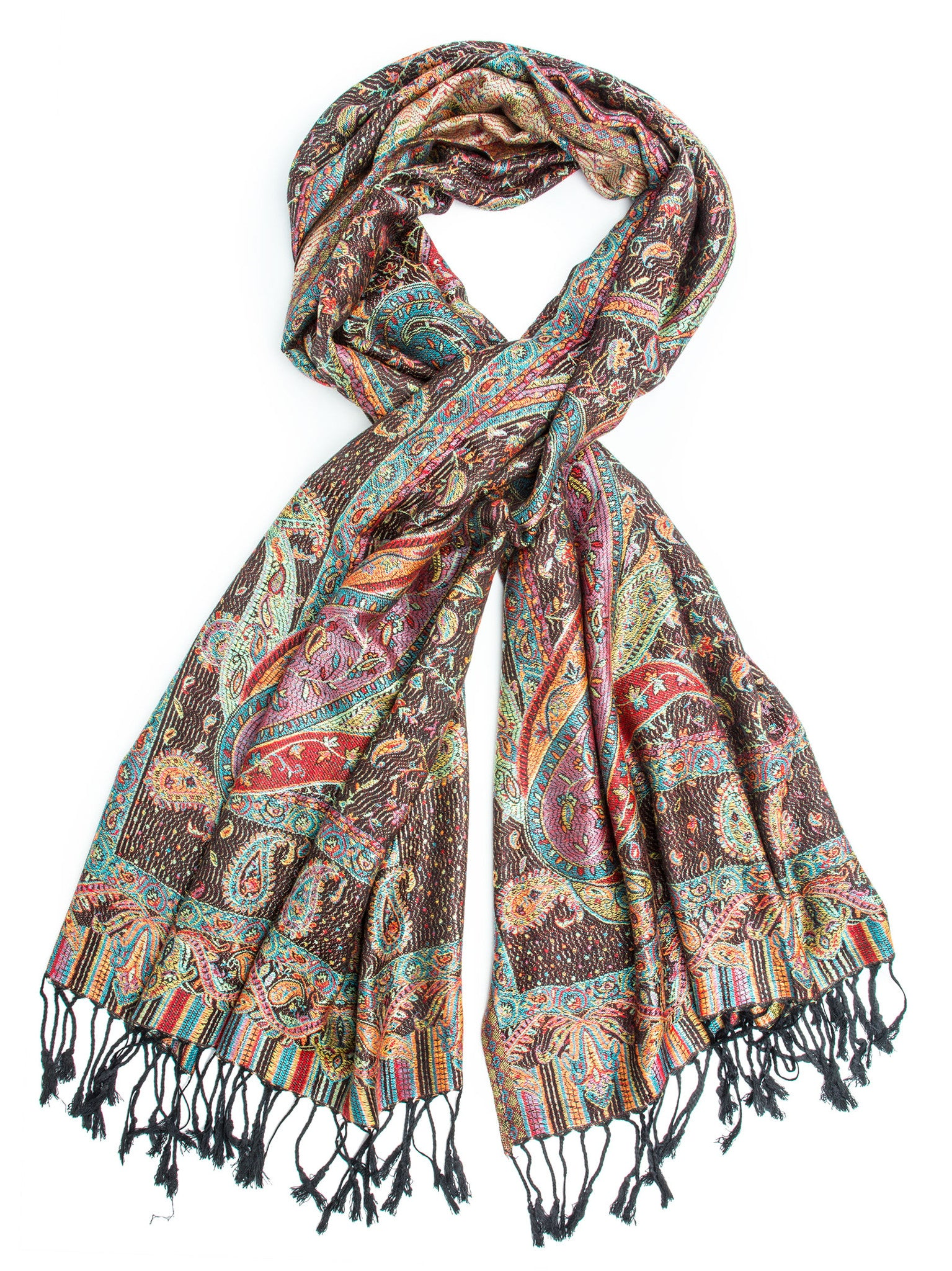 Scarves - Tiaja Scarf, Pashmina Indian Paisley Traditional Jacquard Scarf - hand made in India -(Black) Bohomonde  - 2