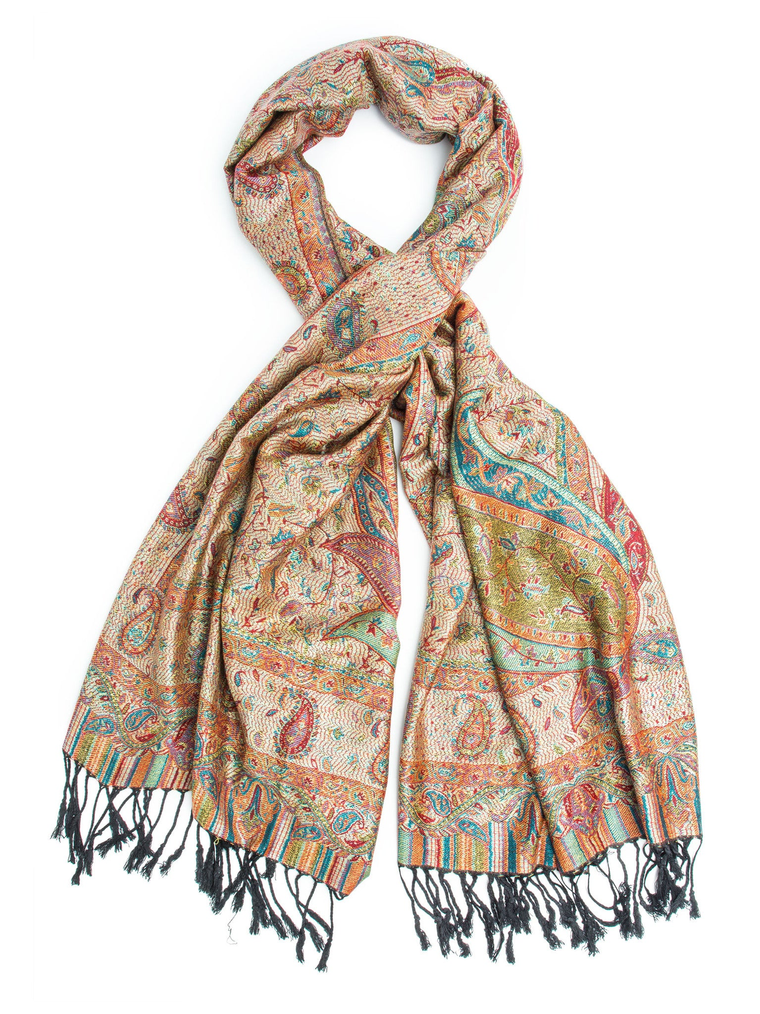 Scarves - Tiaja Scarf, Pashmina Indian Paisley Traditional Jacquard Scarf - hand made in India -() Bohomonde  - 4