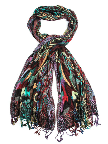 Scarves - Devi Scarf, Woven Reversible Striped Pashmina Shawl, Hand Made in India -(Tapestry / One Size) Bohomonde  - 1