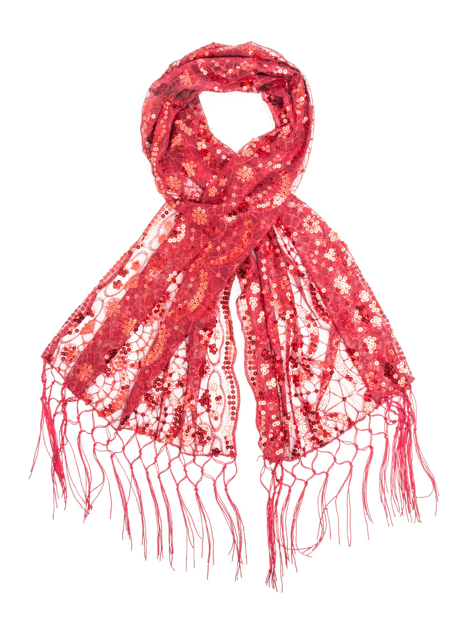 Scarves - Vera, Vintage Inspired Sequin Shawl, Evening Wrap, Embroidered Sequin Fringe Shawl or Scarf -(Red) Bohomonde  - 12