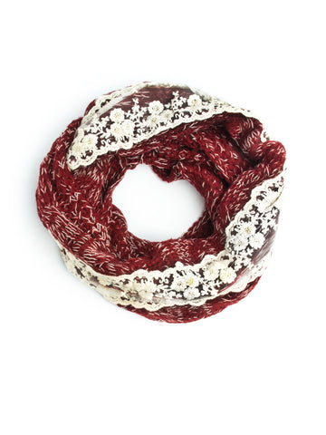 Scarves - Nell Cable Knit & Lace Winter Infinity Scarf Mori Style -(winter berry) Bohomonde  - 1