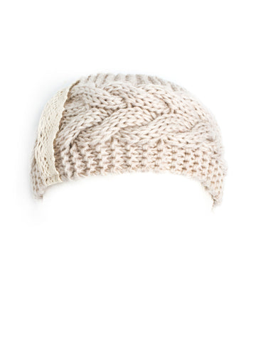 Headband - Fawn, Cable Knit Winter Headband, Boho Mori Style with Crochet Lace Detail -(Cream) Bohomonde  - 1