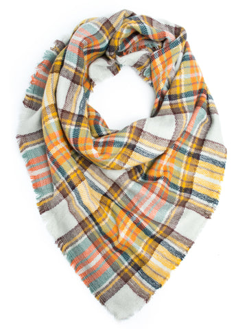 Scarves - Moira Plaid Blanket Scarf or Shawl, Winter Scarf -(Mustard/Orange) Bohomonde  - 1